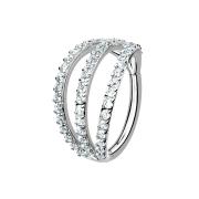 Micro Segmentring silber klappbar drei Ringe mit Kristallen