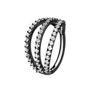 Micro Segmentring schwarz klappbar drei Ringe mit Kristallen