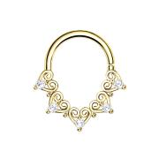 Micro Piercing Ring 14k vergoldet filigrane Herzen mit...