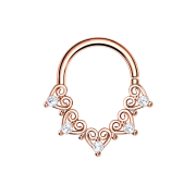 Micro Piercing Ring rosegold filigrane Herzen mit Kristall