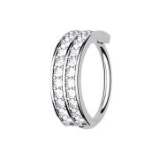 Micro Piercing Ring silber doppellinie mit Kristallen