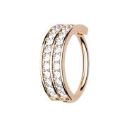 Micro Piercing Ring rosegold doppellinie mit Kristallen