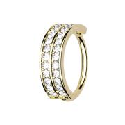 Micro Piercing Ring 14k vergoldet doppellinie mit Kristallen