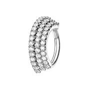Micro Piercing Ring silber Platte mit drei Kristalllinien
