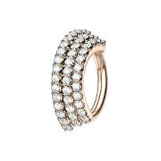 Micro Piercing Ring rosegold Platte mit drei Kristalllinien