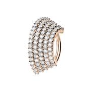 Micro Piercing Ring rosegold Platte mit fünf...