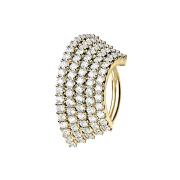 Micro Piercing Ring 14k vergoldet Platte mit fünf...