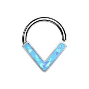 Micro Piercing Ring silber Winkel mit Opal blau