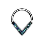 Micro Piercing Ring silber Winkel mit Opal grün