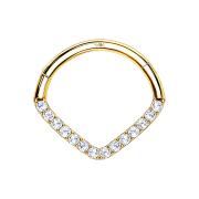 Micro Segmentring 14k gold klappbar Winkel mit Kristallen