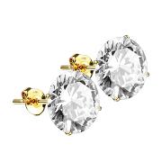 Ohrstecker 14k gold mit rundem Kristall silber