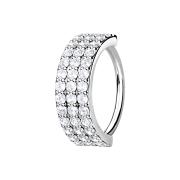Micro Piercing Ring silber drei linien mit Kristallen