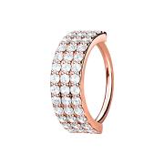 Micro Piercing Ring rosegold drei linien mit Kristallen