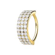 Micro Piercing Ring 14k vergoldet drei linien mit Kristallen