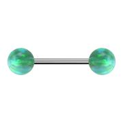 Micro Barbell silber mit zwei Kugeln Opal grün