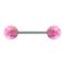 Micro Barbell silber mit zwei Kugeln Opal pink