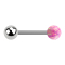 Barbell silber mit Kugel und Kugel Opal pink