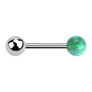 Barbell silber mit Kugel und Kugel Opal grün