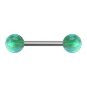 Barbell silber mit zwei Kugeln Opal grün