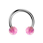 Micro Circular Barbell silber mit zwei Kugeln Opal pink