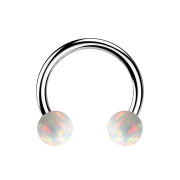 Micro Circular Barbell silber mit zwei Kugeln Opal weiss