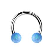 Micro Circular Barbell silber mit zwei Kugeln Opal hellblau