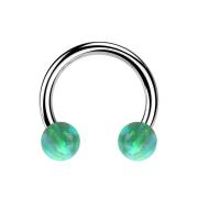 Micro Circular Barbell silber mit zwei Kugeln Opal grün