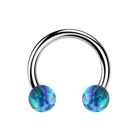 Micro Circular Barbell silber mit zwei Kugeln Opal blau