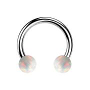 Circular Barbell silber mit zwei Kugeln Opal weiss