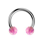 Circular Barbell silber mit zwei Kugeln Opal pink