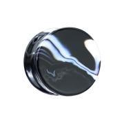 Flared Plug aus schwarz und weiss Achat Stein