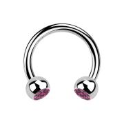 Circular Barbell silber mit zwei Kugeln Kristall pink