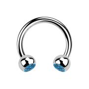 Circular Barbell silber mit zwei Kugeln Kristall hellblau