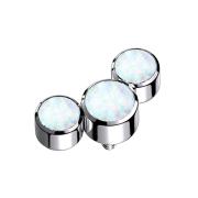 Dermal Anchor silber drei Opale weiss