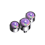 Dermal Anchor silber drei Opale violett