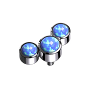 Dermal Anchor silber drei Opale blau