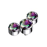 Dermal Anchor silber drei Kristalle dunkel multicolor