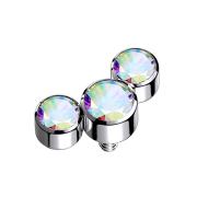 Dermal Anchor silber drei Kristalle multicolor