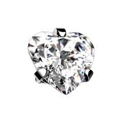 Dermal Anchor silber Herz Kristall silber gefasst