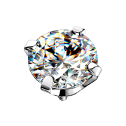 Dermal Anchor silber Kristall silber gefasst