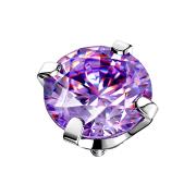 Dermal Anchor silber Kristall tanzanite gefasst