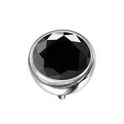 Dermal Anchor Halbkugel silber mit Kristall schwarz