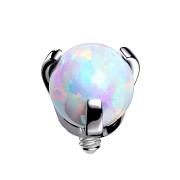 Dermal Anchor silber Opal weiss gefasst