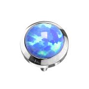 Dermal Anchor silber mit Opal hellblau