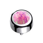 Dermal Anchor Zylinder silber mit Opal pink