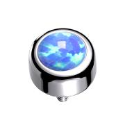 Dermal Anchor Zylinder silber mit Opal hellblau