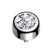 Dermal Anchor Zylinder silber mit Kristall silber