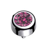 Dermal Anchor Zylinder silber mit Kristall pink