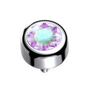 Dermal Anchor Zylinder silber mit Kristall multicolor