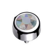 Dermal Anchor Zylinder silber mit Kristall dunkel multicolor